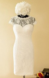 Sheath Mini Sweetheart Cap Sleeve Lace Satin Dress With Illusion Button