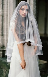 Simple New Western Style Silk Satin Soft Tulle Bridal Veil