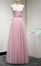 Ruched Sleeveless Floor-length Gown With Beadings and Flower