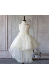 2018 Off White a Line Asymmetric Halter Neck Flower Girl Dress With Beading Rosette