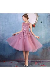 Tulle Adorable A-Line Scoop Petite Shortn Mini Sleeveless Zipper Back Appliques Bridesmaid Dress