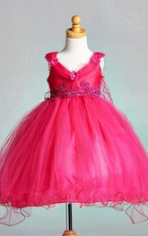 Vintage Cap Sleeve V-neck Tulle Ball Gown Dress