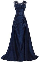 Sleeveless Crystal Ruched Bodice Long Satin Dress