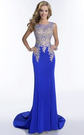 Bateau Neck Sleeveless Sheath Jersey Prom Dress With Illusion Back And Rhinestone Bodice