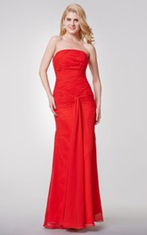 Backless Strapless Draped Long Chiffon Dress