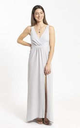 Sheath Chiffon Front Split And Ruched Details Bridesmaid Dress With Plunging Neckline