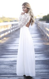Scalloped Plunging Boho A-line Lace Long Sleeve Open Back Chiffon Gown