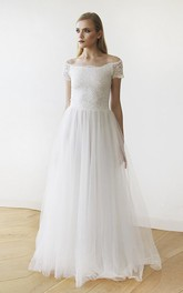 Off-the-shoulder Floor-length Short Sleeve A-line Lace Tulle Wedding Dress