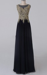 A-line Floor-length Scoop Chiffon&Satin Dress With Beading