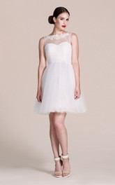 A-Line Tulle Short Bridesmaid Dress with Illusion Neck