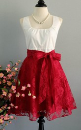 My Lady Spring Summer Sun White Top Ruby Lace Skirt Prom Party Red Lace Bridesmaid Red Lace Party Tea Xs Xl Dress