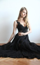 Sexy Maxi Illusion Chiffon Gown With V Back