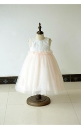 Sleeveless Jewel Neck Ivory Over Blush Tulle Ball Gown Dress