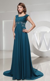Sleeveless Chiffon Square-Neck Dress With Beaded Waist