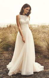 Sleeveless Jewel Neckline And Court Train Lace Tulle Wedding Dress With Illusion Button Back