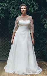 A-Line Long Bateau Neck 3-4-Sleeve Lace Brush Train Illusion  Dress