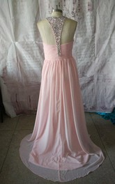 Long Chiffon Ruched Dress With Beading