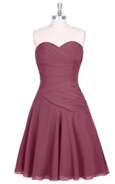 Short Sweetheart A-Line Chiffon Dress With Ruched Bodice