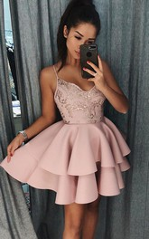 A-line Spaghetti Sleeveless Beading Lace Ruffles Tiers Short Mini Satin Lace Homecoming Dress