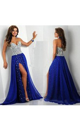 Sweetheart A-line Chiffon Dress with Sequined Bodice