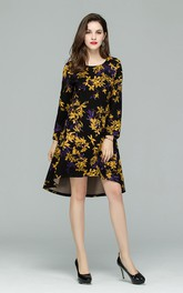 Printed Long Sleeve High-Low Dress