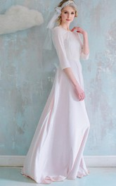 A-line Floor-length Chiffon Dress With Flower