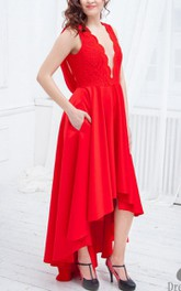 Plunged A-Line High-Low Satin Dress With Lace Top