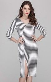 V-Neck Long Sleeve Stripe Dress with Slit