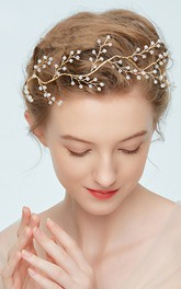 Western Style Crystal Headdress With Gold Wreath Hair Accessories