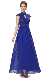 Cap-sleeved A-line Chiffon Dress With Lace Bodice