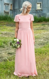Casual Chiffon Bateau-neck Floor Length Ruched Bridesmaid Dress