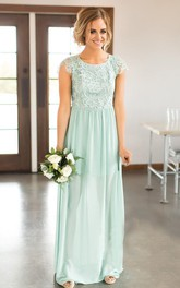 Sexy Bateau Cap-sleeve Keyhole Bridesmaid Dress