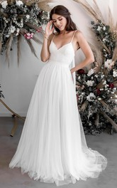 Spaghetti V-neck A-line Casual Ethereal Sexy Lace Tulle Bridal Gown With Court Train