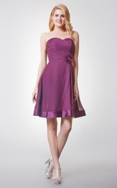 Strapless Pleated A-line Chiffon Dress With Flower Detailing