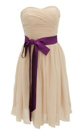 Sweetheart Mini Chiffon Dress With Sash Waist