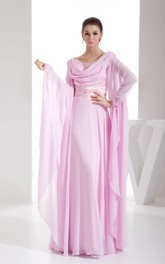 Cowl-Neck Chiffon Maxi Dress with Ruching and Stress