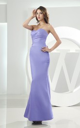 Strapless Mermaid Satin Ankle-Length Dress with Ruching