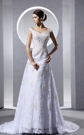 Impressive Laced V-Neck Column Dress With Strapless Court Train