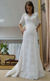 A-Line V-Neck Satin Lace Wedding Dress