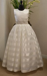 Beaded Belt Organza Dress With Satin Bodice