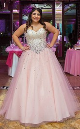 Ball Gown Sleeveless Sweetheart Tulle Floor Length Beading Plus Size Dress