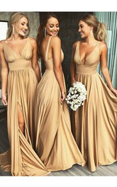 Front Split Plunging V-neck Sleeveless Empire Bridesmaid Dress With Pleats