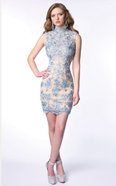High Neck Form-Fitted Sleeveless Short Lace Homecoming Dress Featuring Keyhole Back