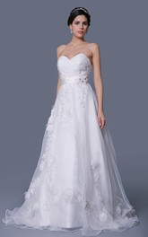 Sweetheart Organza Bodice-Ruched A-Line Dress With Flowers and Appliques