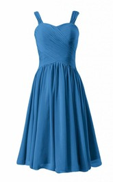 Sleeveless Asymmetrical Ruched Bodice Knee-length Pleated Chiffon Dress