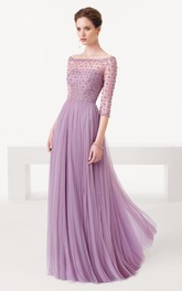 Sheath Half Sleeve Beaded Off-The-Shoulder Tulle Prom Dress
