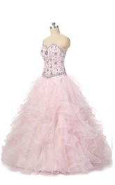 Ball Gown Sweetheart Organza Dress With Beading