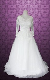 Ball Gown V-Neck Long Sleeve Tulle Lace Satin Dress With Flower
