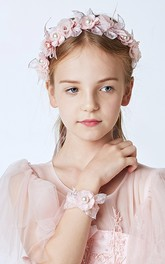 Flower Girl Beautiful Pearl Pink Gauze Flower Wreath Hand Flower Set