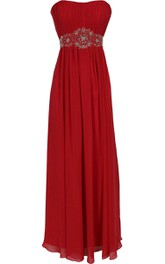 Strapless Pleated Long Dress With Ruching and Crystal